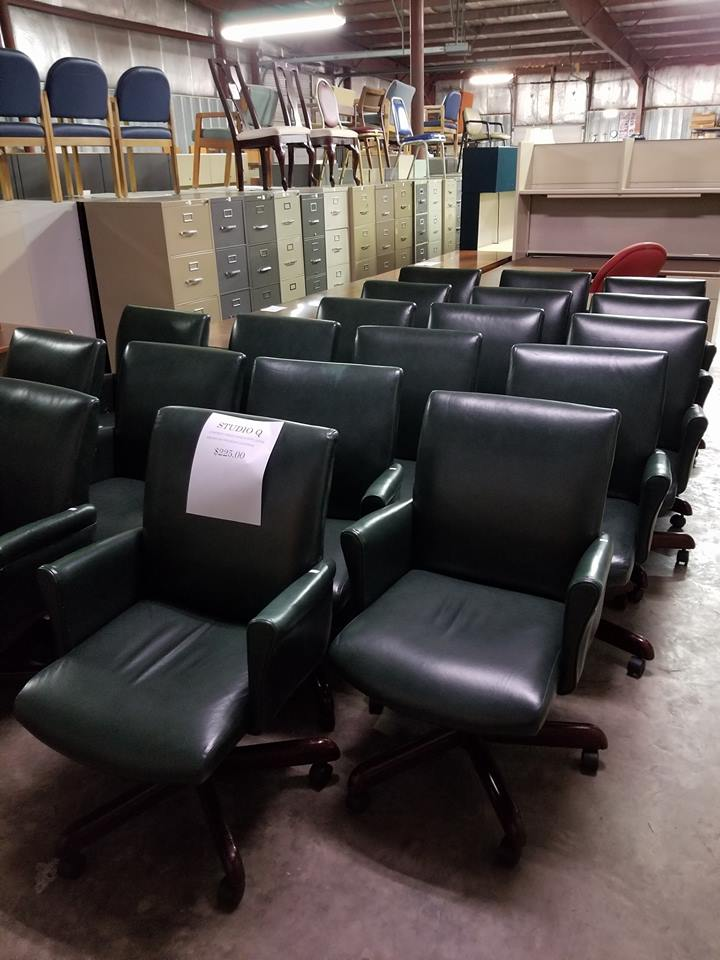 office furniture sale. Studio Q Green Top Grain Leather, Cherry Wood Base Chairs Office Furniture Sale