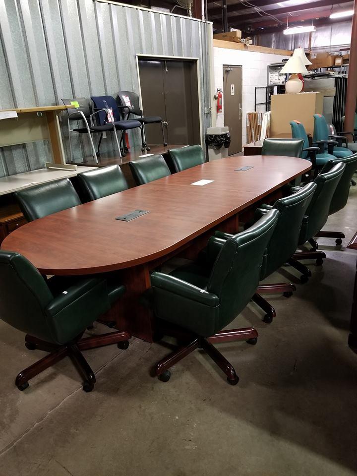 Studio Q Green Top Grain Leather, Cherry Wood Base Chairs